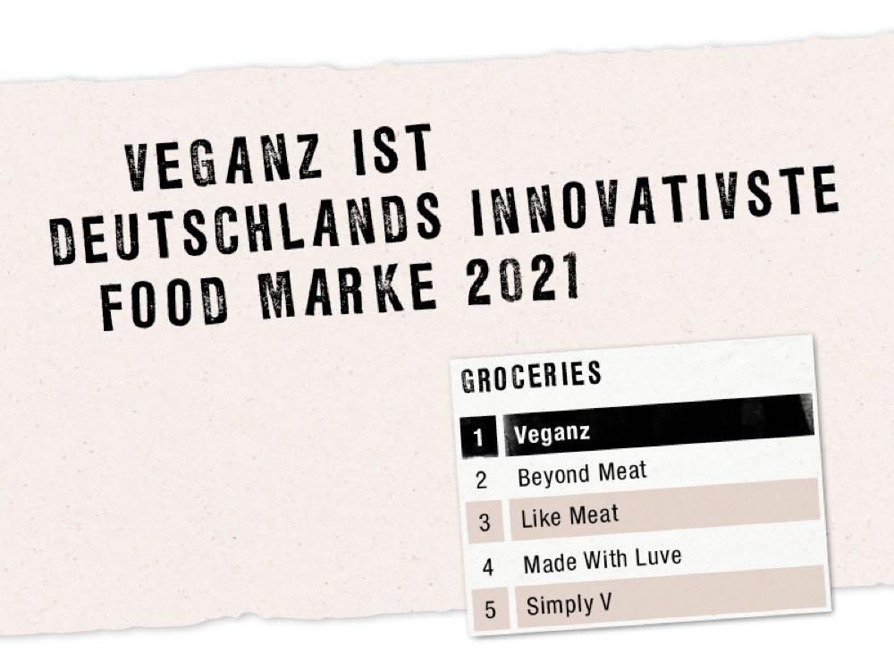 Veganz ist Deutschlands innovativste Food Marke 2021