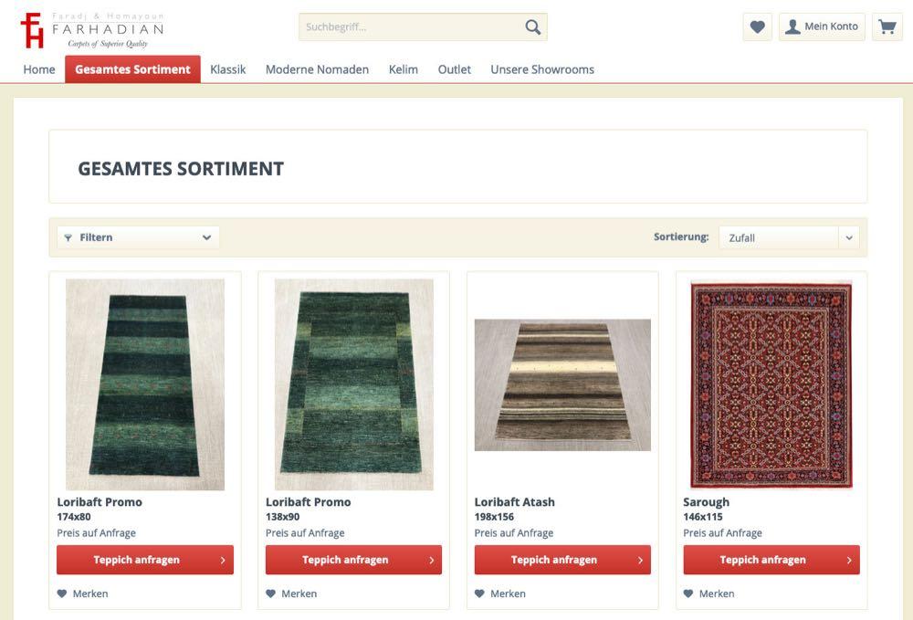 Faradj & Homayoun Farhadian B2B-Webshop gestartet