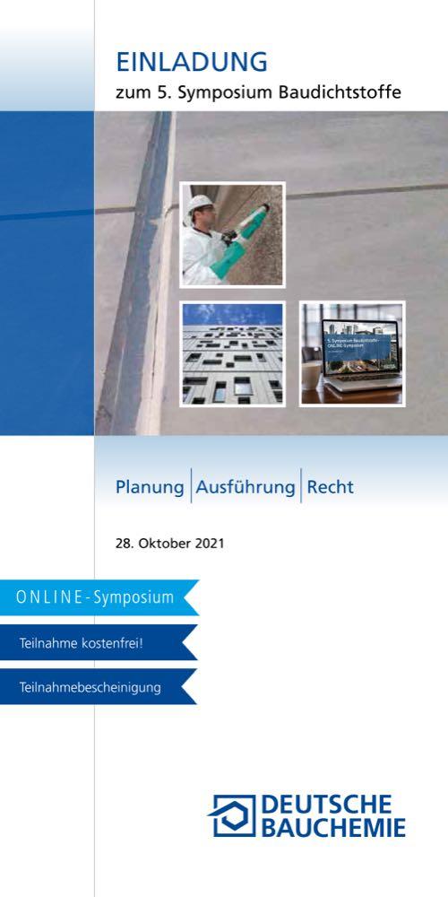 Deutsche Bauchemie lädt zum Symposium Baudichtstoffe ein