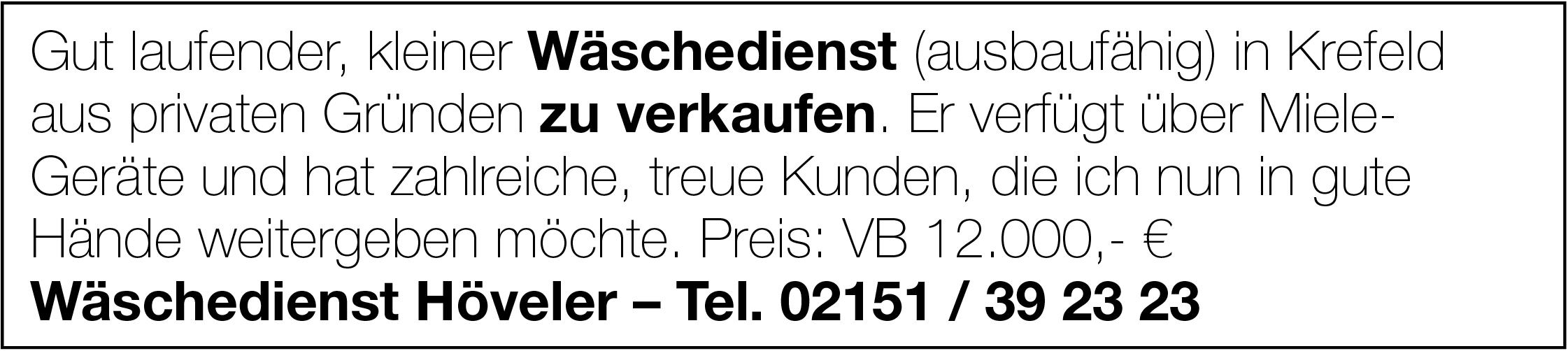 Wäschedienst in Krefeld zu verkaufen