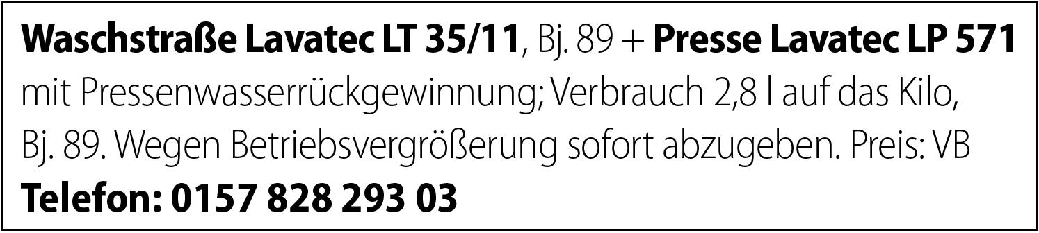Waschstraße Lavatec LT35/11  Presse Lavatec LP 571 abzugeben