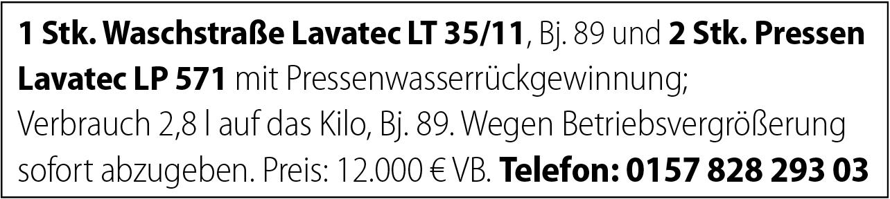 Waschstraße und Pressen Lavatec zu verkaufen