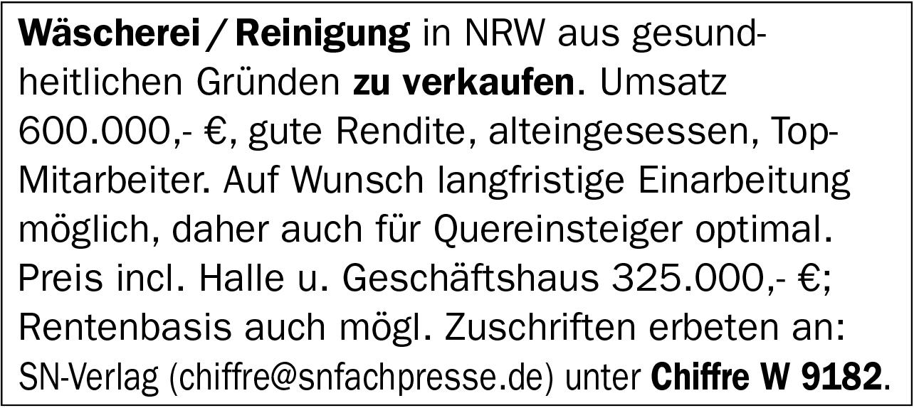 Wäscherei / Reinigungin NRW zu verkaufen