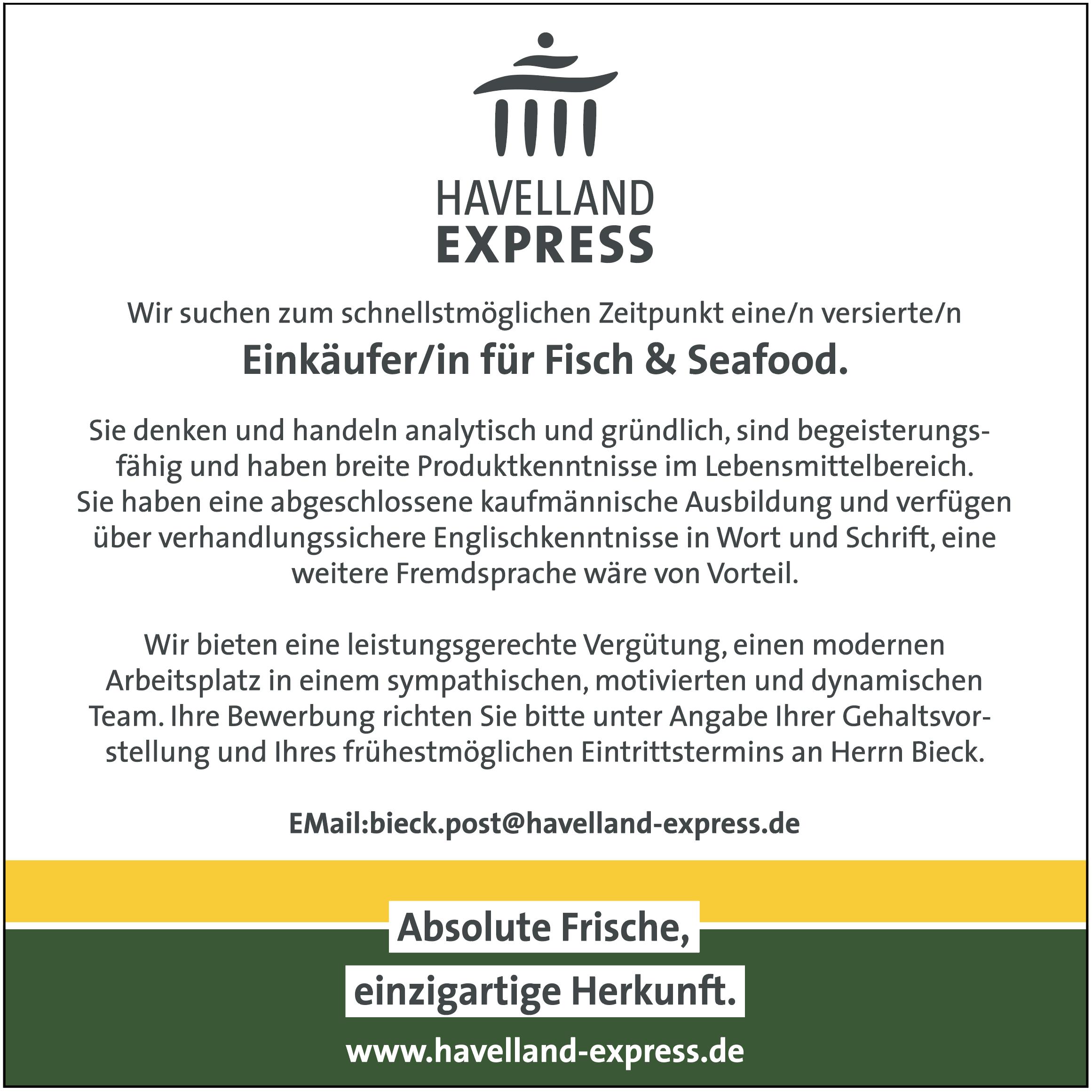 Einkäufer/in für Fisch & Seafood