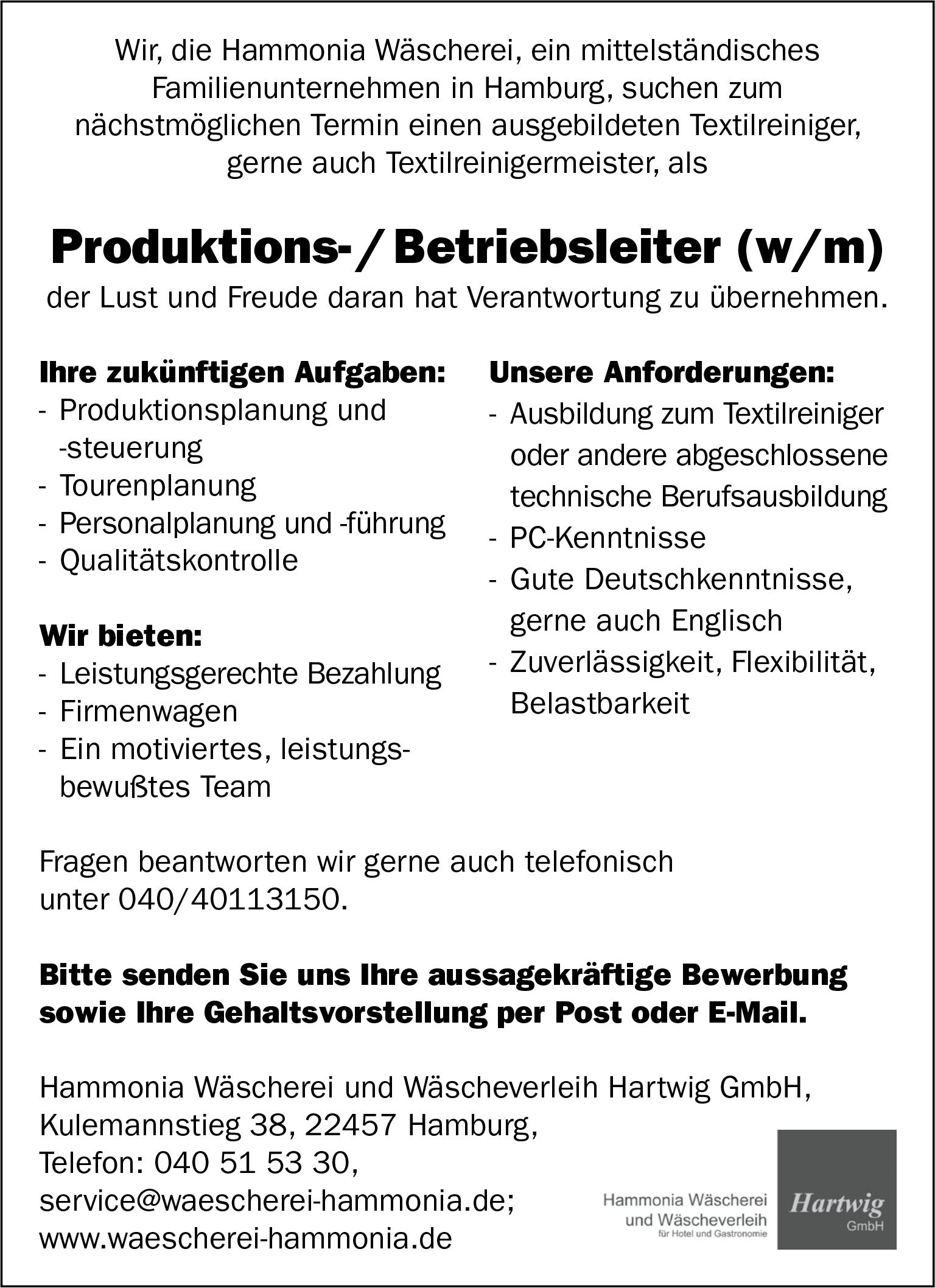 Produktions- / Betriebsleiter (w/m)