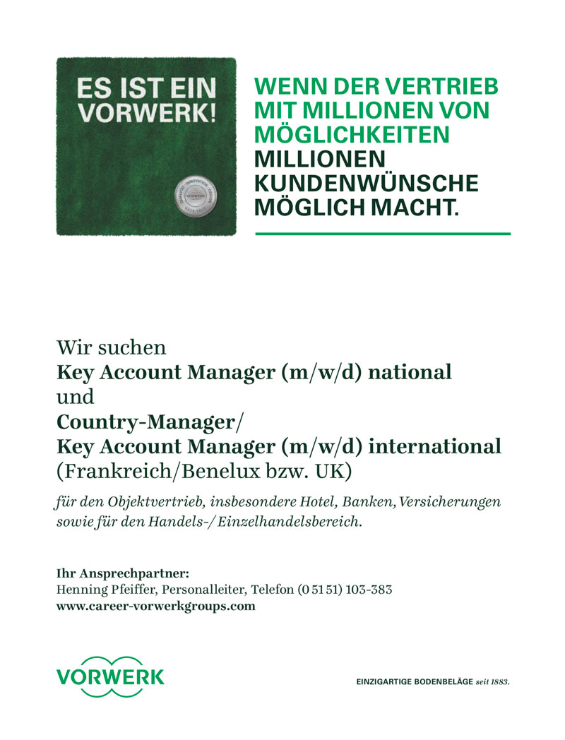 Country Manager/Key Account Manager international (m/w/d) national für Bodenbeläge