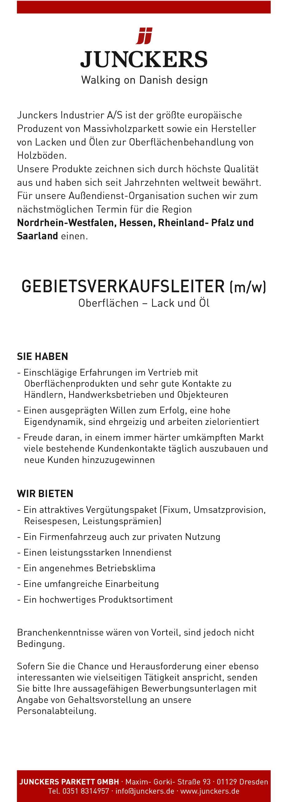 Gebietsverkaufsleiter (m/w) für Parkettlacke/-öle