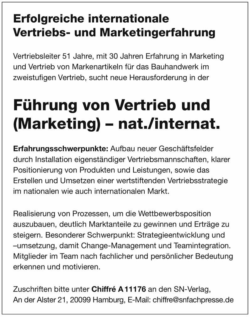 Führung von Vertrieb und Marketing  national/international