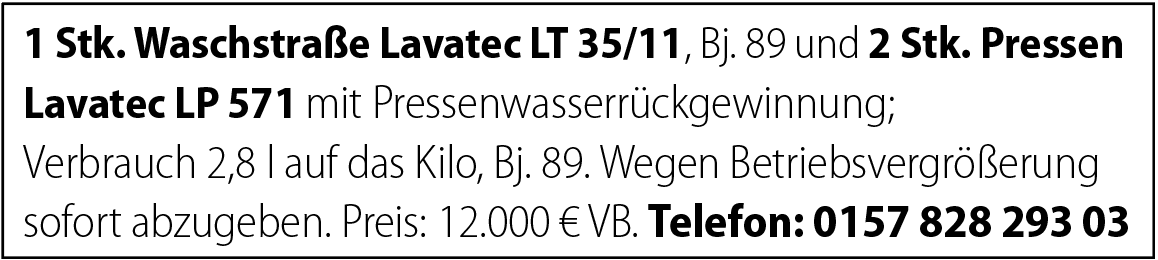 Lavatec Waschstraße  Pressen
