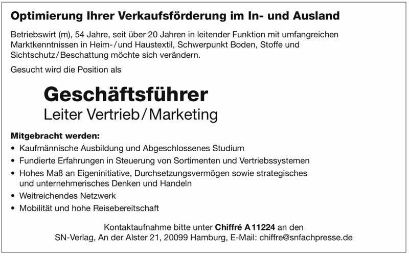 Geschäftsführer, Leiter Vertrieb/Marketing