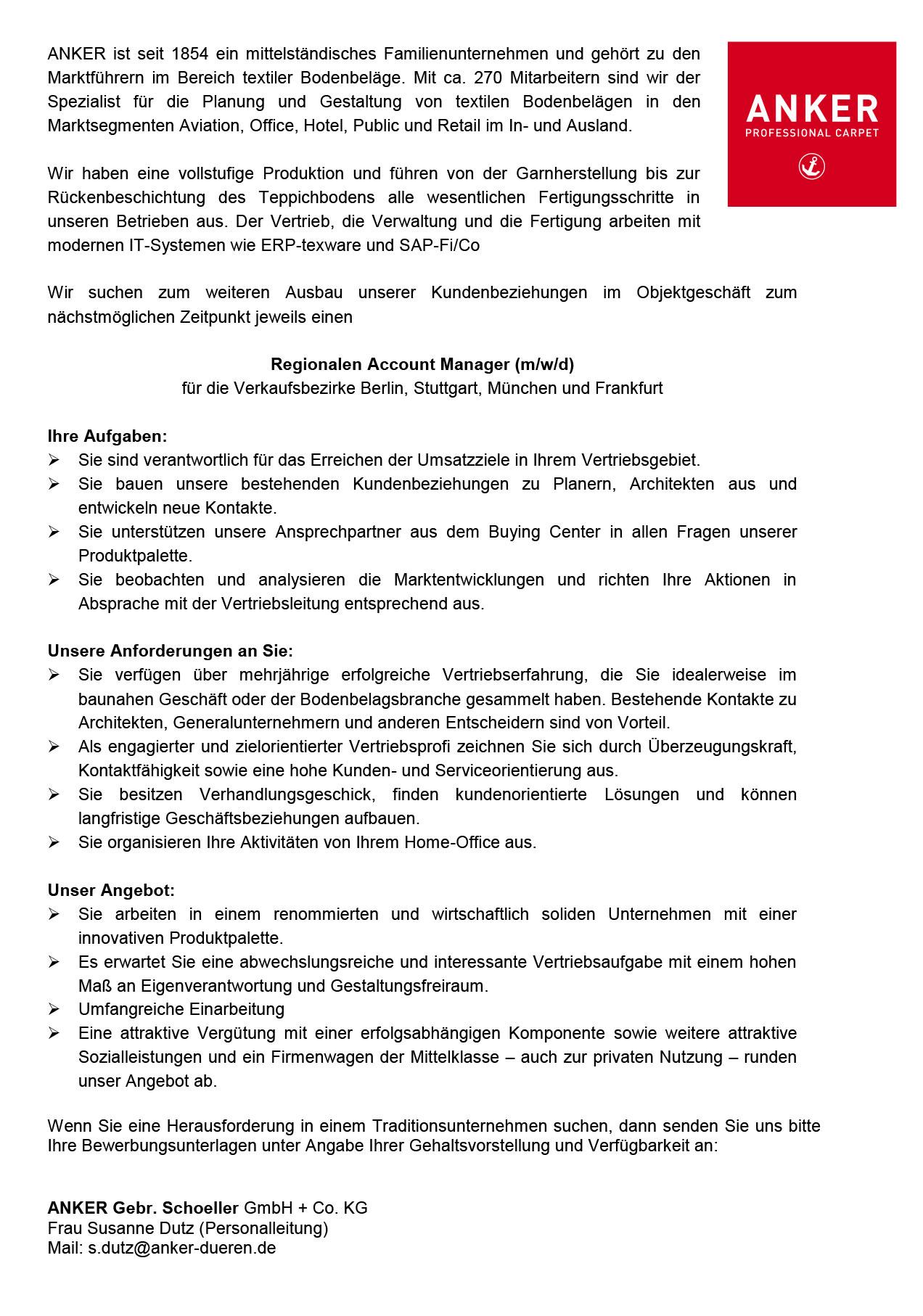 Regionaler Account Manager (m/w/d) für textile Bodenbeläge