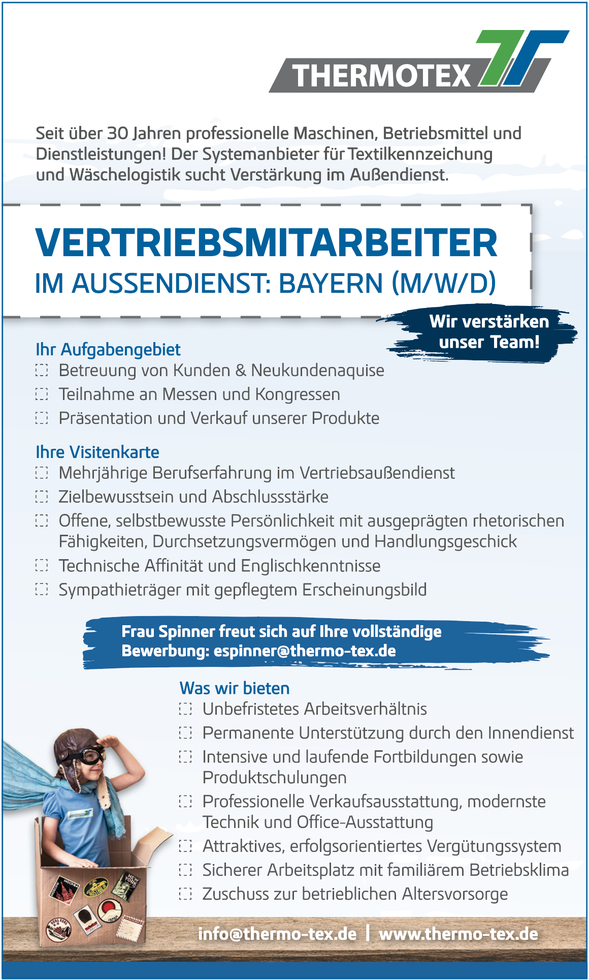 Vertriebsmitarbeiter im Aussendienst: Bayern (m/w/d)