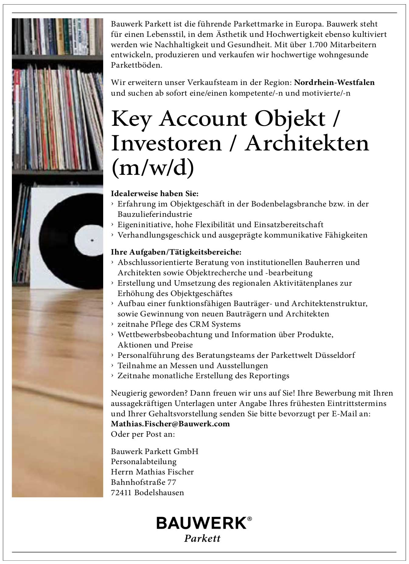 Key Account Objekt/Investoren/Architekten (m/w/d) für Parkett