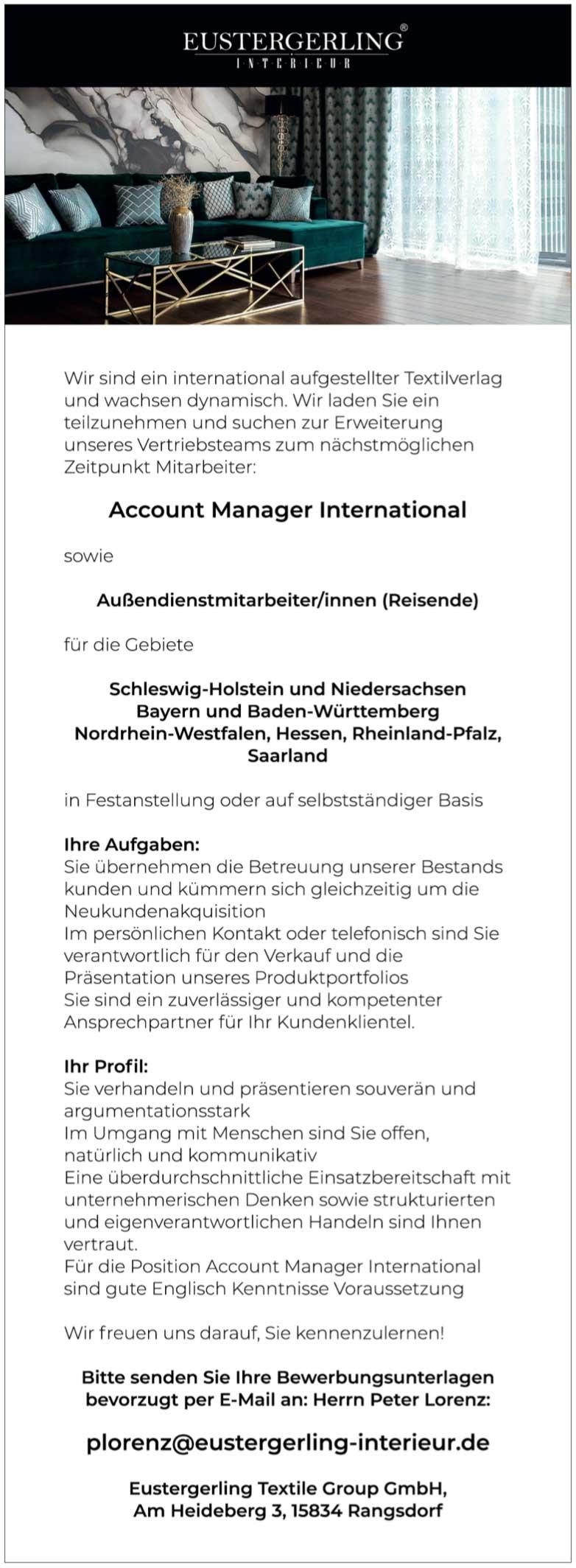 Account Manager International in Textilverlag