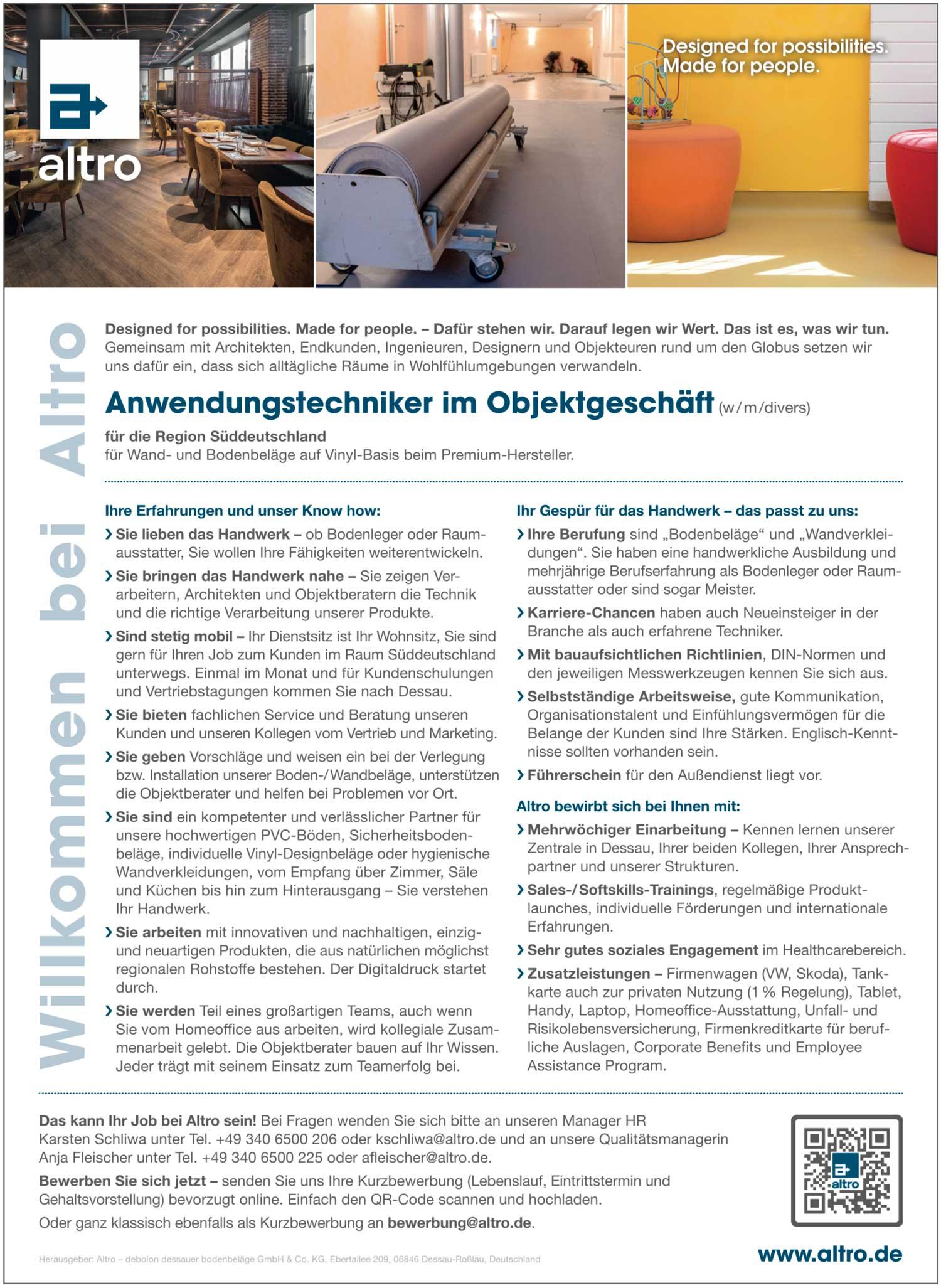 Anwendungstechniker im Objektgeschäft für Wand- und Bodenbeläge (w/m/d)