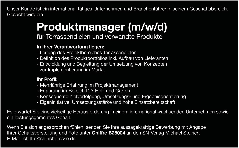 Produktmanager (m/w/d) für Terrassendielen und verwandte Produkte