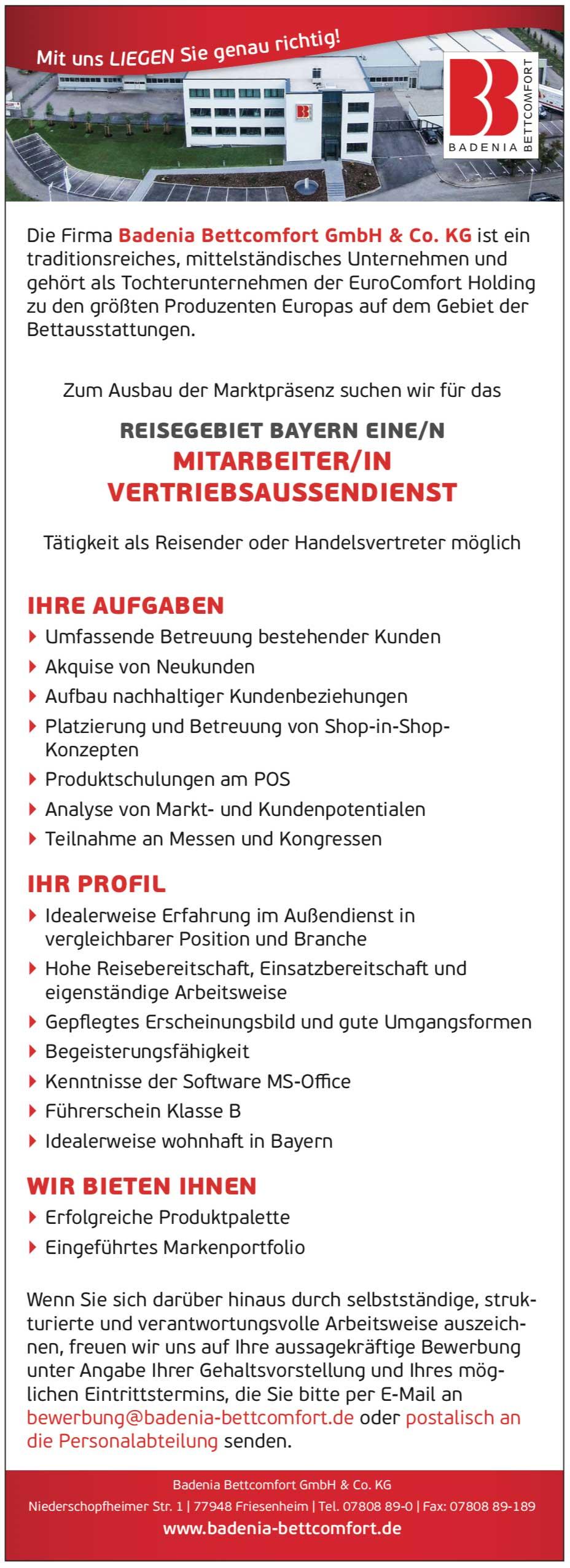 Mitarbeiter/in Vertriebsinnendienst für Bettausstattungen
