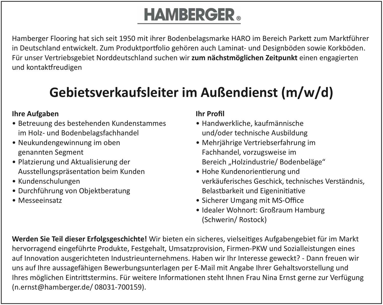 Gebietsverkaufsleiter im Außendienst (m/w/d) für Parkett und Bodenbeläge