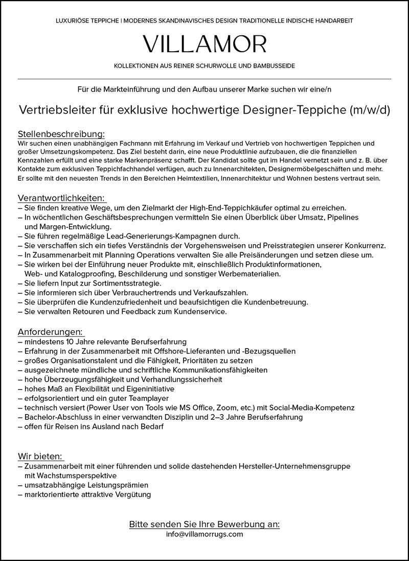Vertriebsleiter für exklusive hochwertige Designer-Teppiche (m/w/d)
