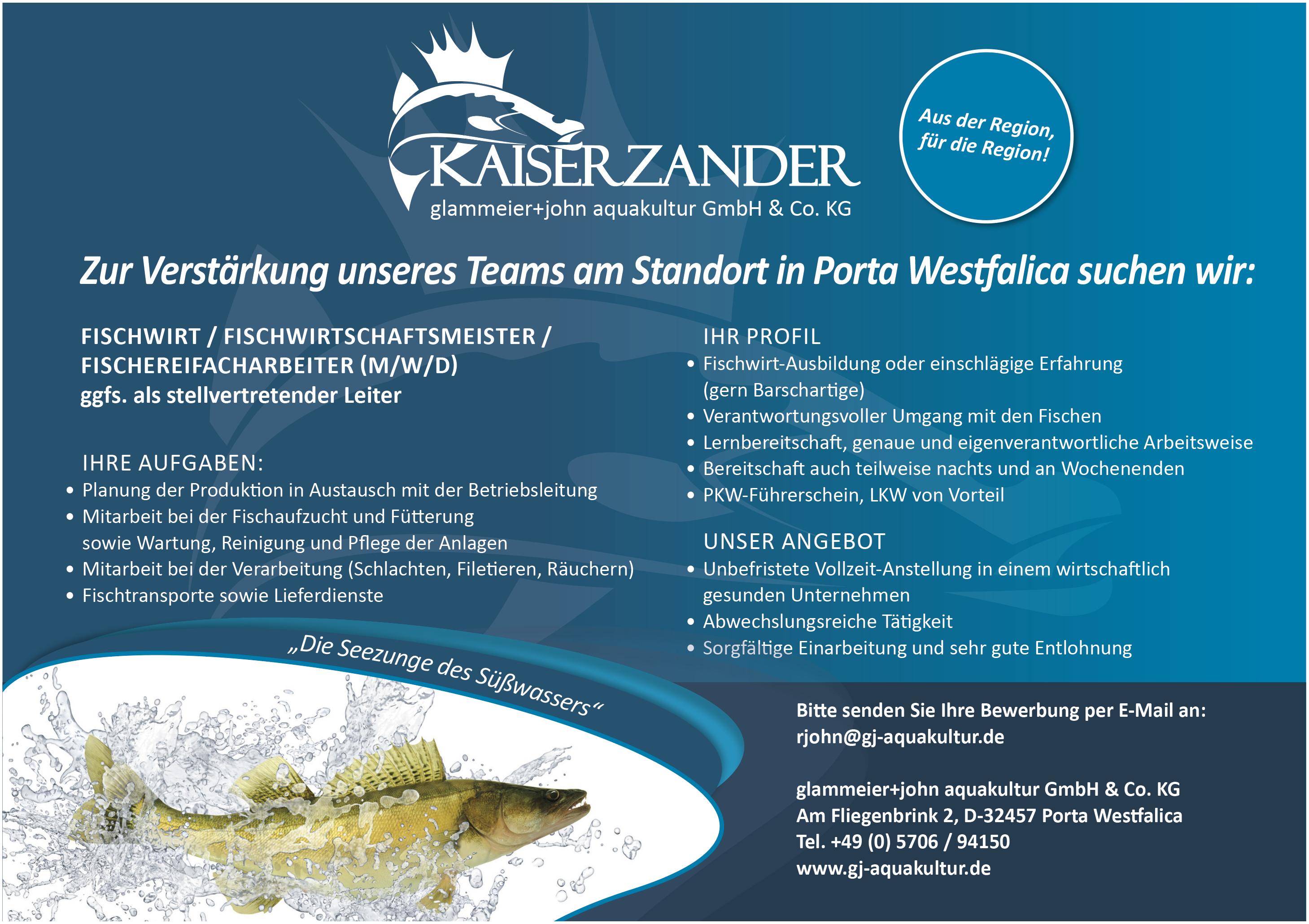 Fischwirt/Fischwirtschaftsmeister/Fischereifacharbeiter (m/w/d)