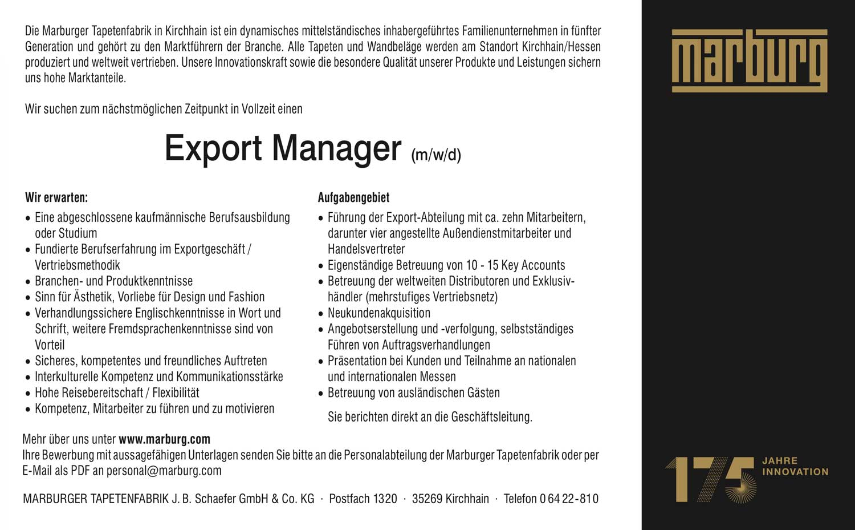 Export Manager (m/w/d) Tapeten