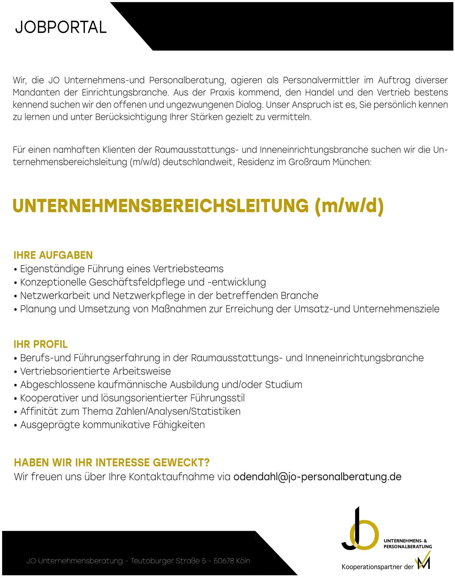 Bereichsleitung (m/w/d) für Unternehmen aus der Raumausstattungs- und Inneneinrichtungsbranche