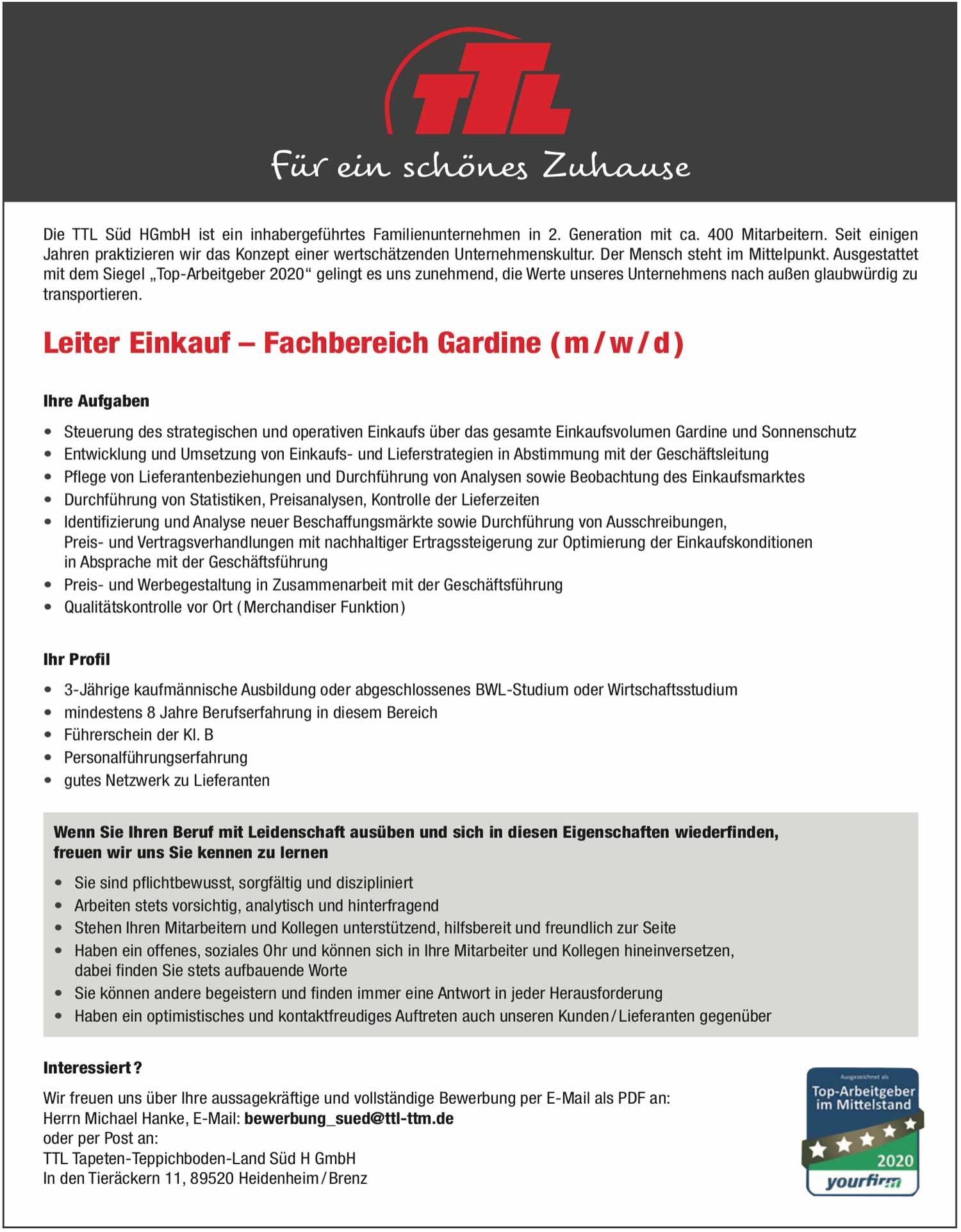 Leiter Einkauf - Fachbereich Gardine (m/w/d)