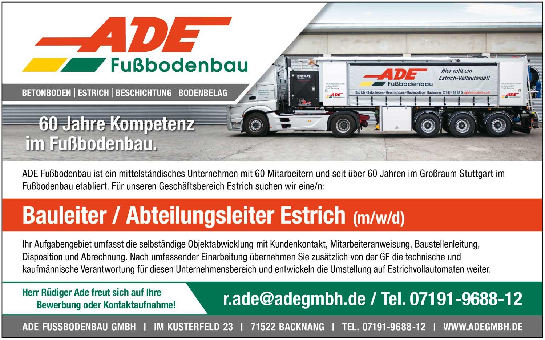 Bauleiter/Abteilungsleiter Estrich (m/w/d)