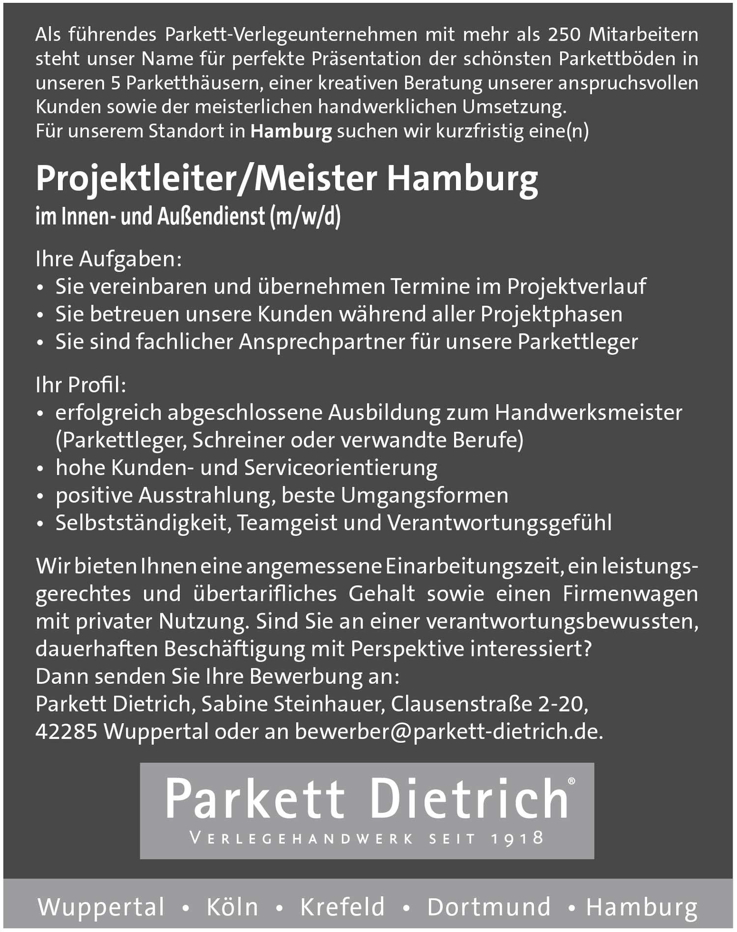 Projektleiter/Meister im Innen- und Außendienst (m/w/d) für Parkettverlegung