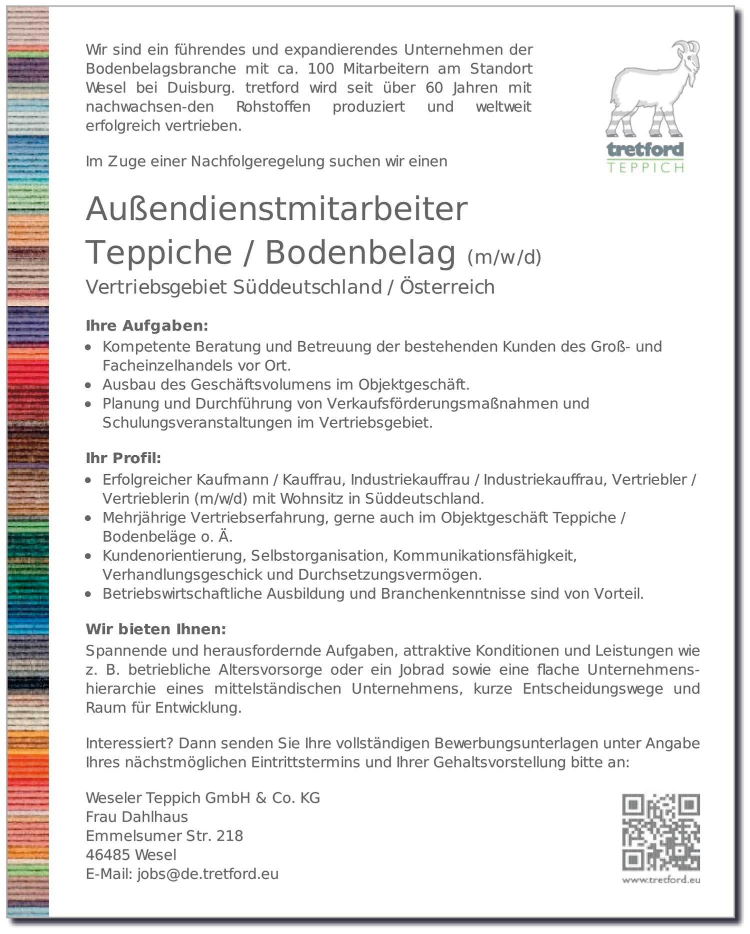 Außendienstmitarbeiter Teppiche / Bodenbelag (m/w/d)