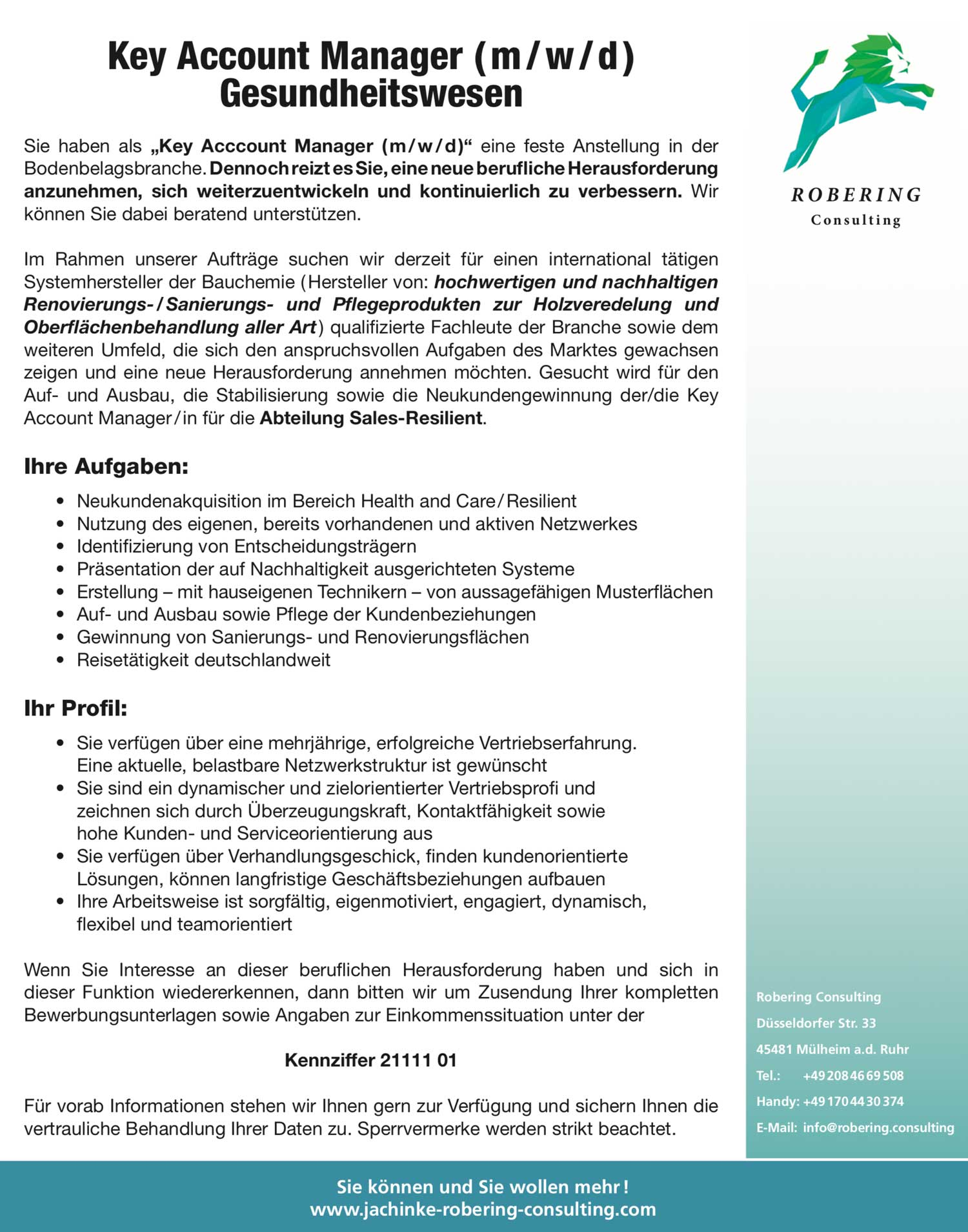 Key Account Manager (m/w/d) Gesundheitswesen für Bauchemie