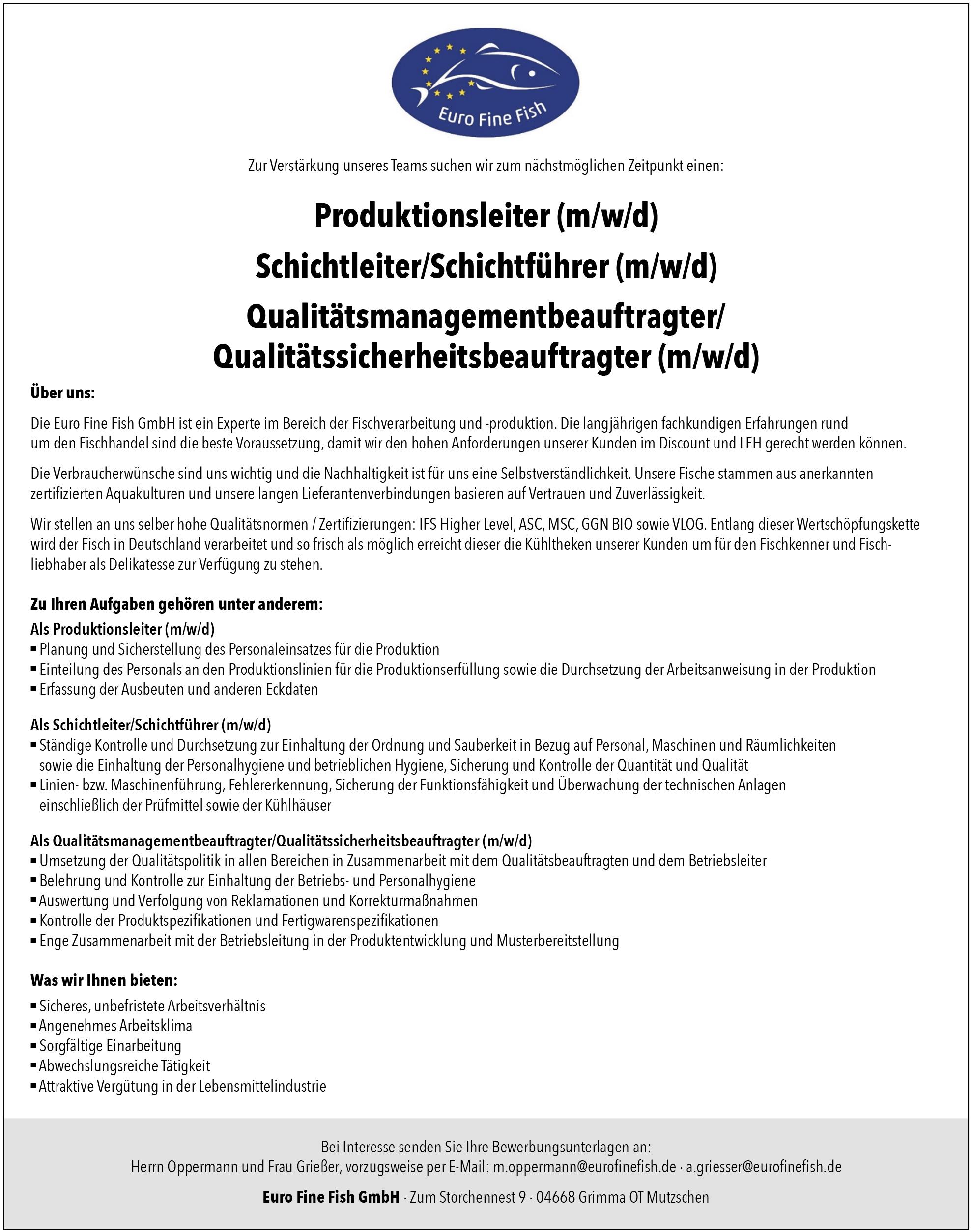 Produktionsleiter (m/w/d), Schichtleiter (m/w/d), Qualitätsbeauftragter (m/w/d)