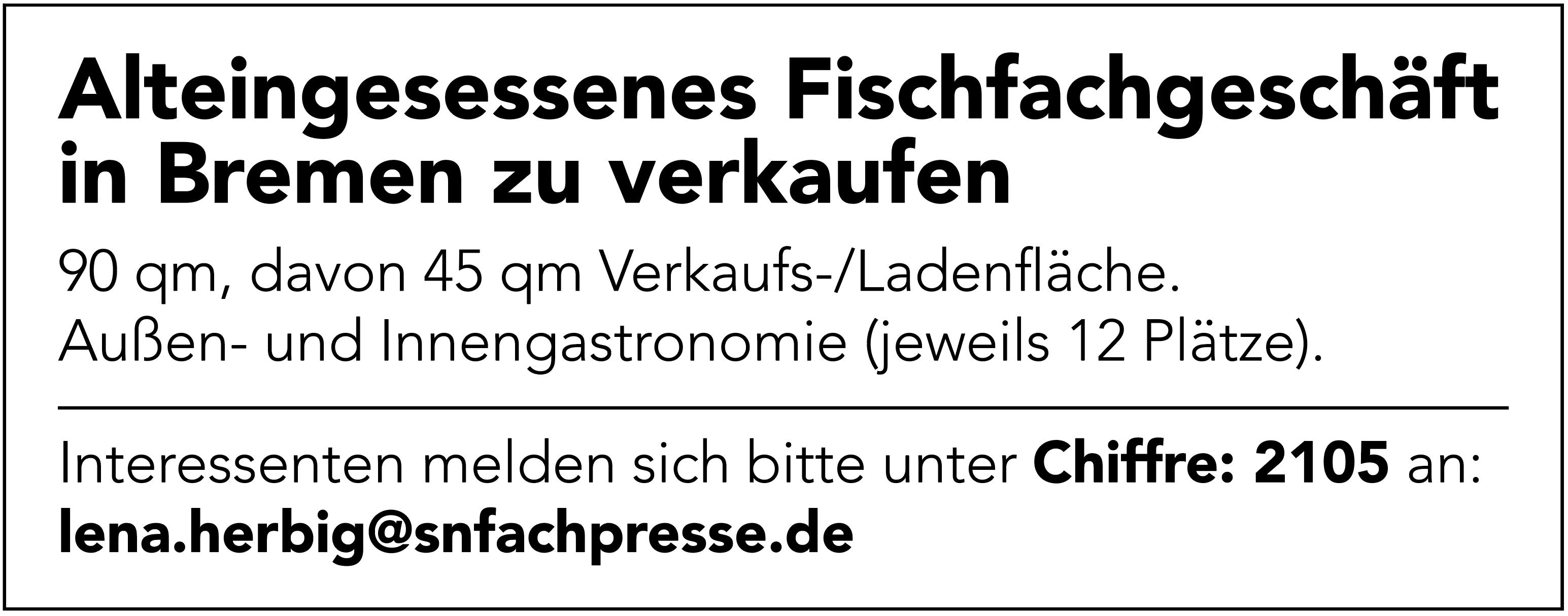 Fischfachgeschäft in Bremen zu verkaufen