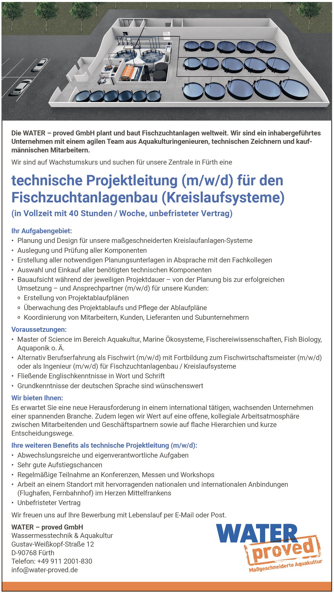 Technische Projektleitung (m/w/d) für den Fischzuchtanlagenbau