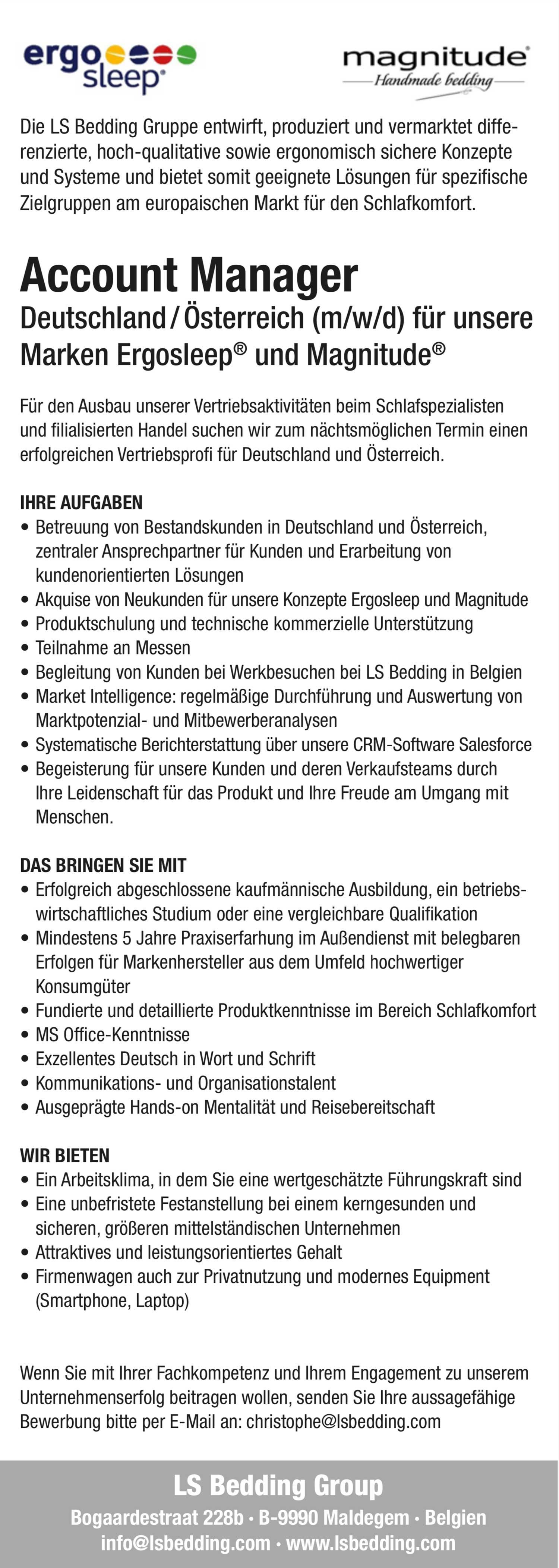 Account Manager Deutschland/Österreich (m/w/d) für Bett- und Schlafsysteme