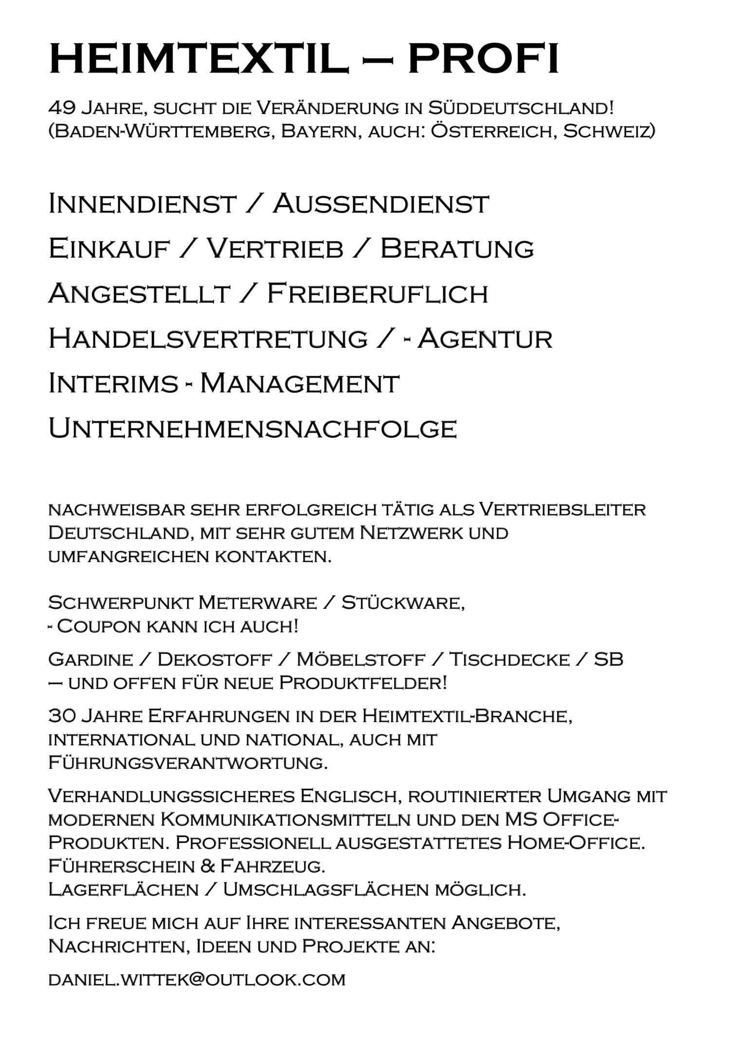 Heimtextil-Profi mit nationaler und internationaler Erfahrung