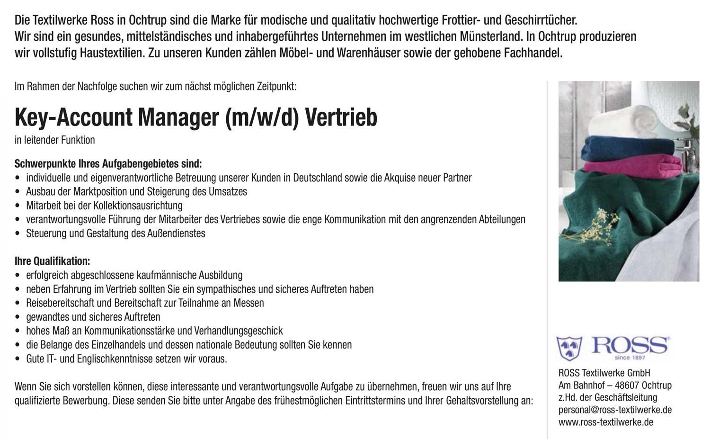 Key-Account-Manager (m/w/d) Vertrieb für Haustextilien