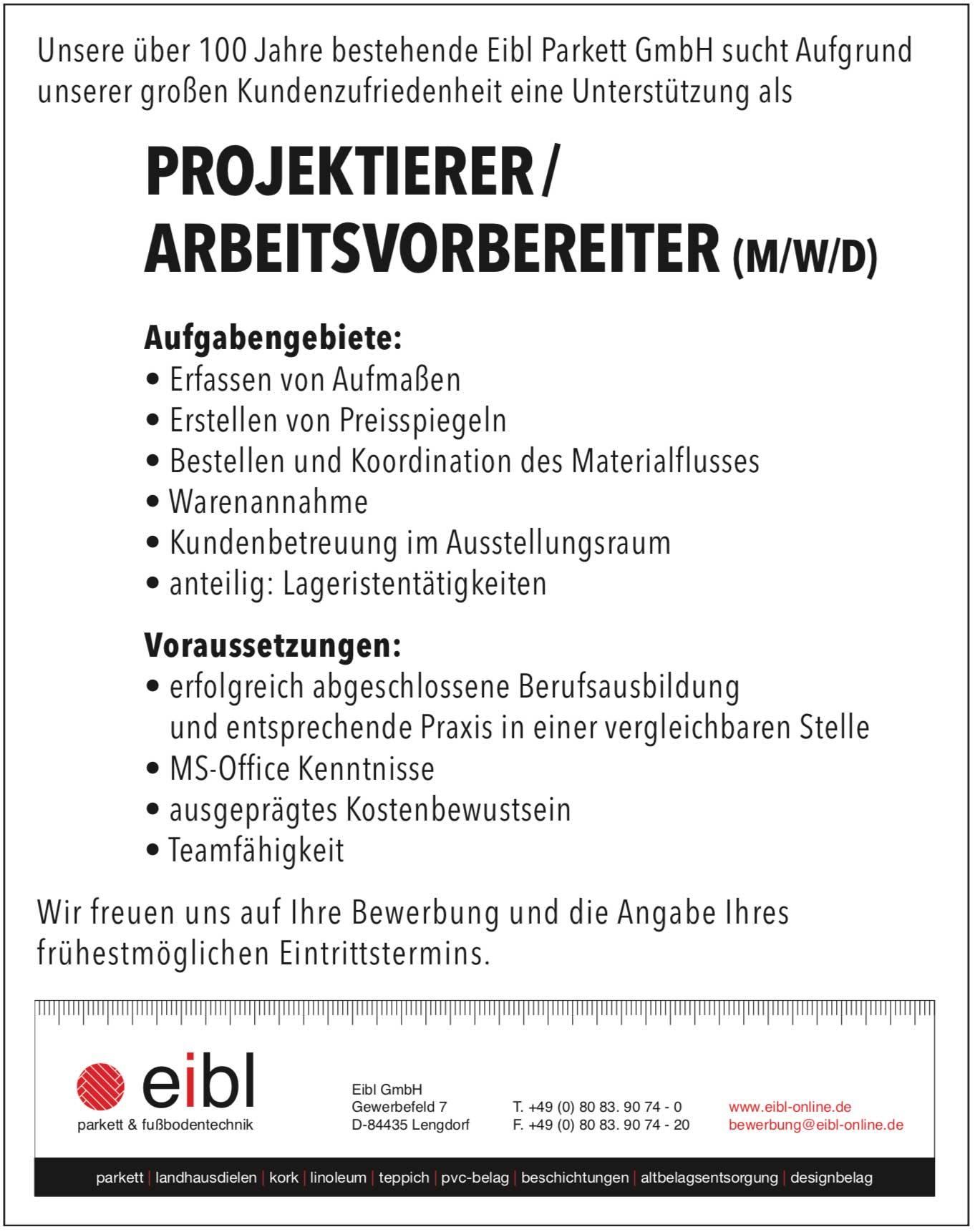 Projektierer/Arbeitsvorbereiter (m/w/d)