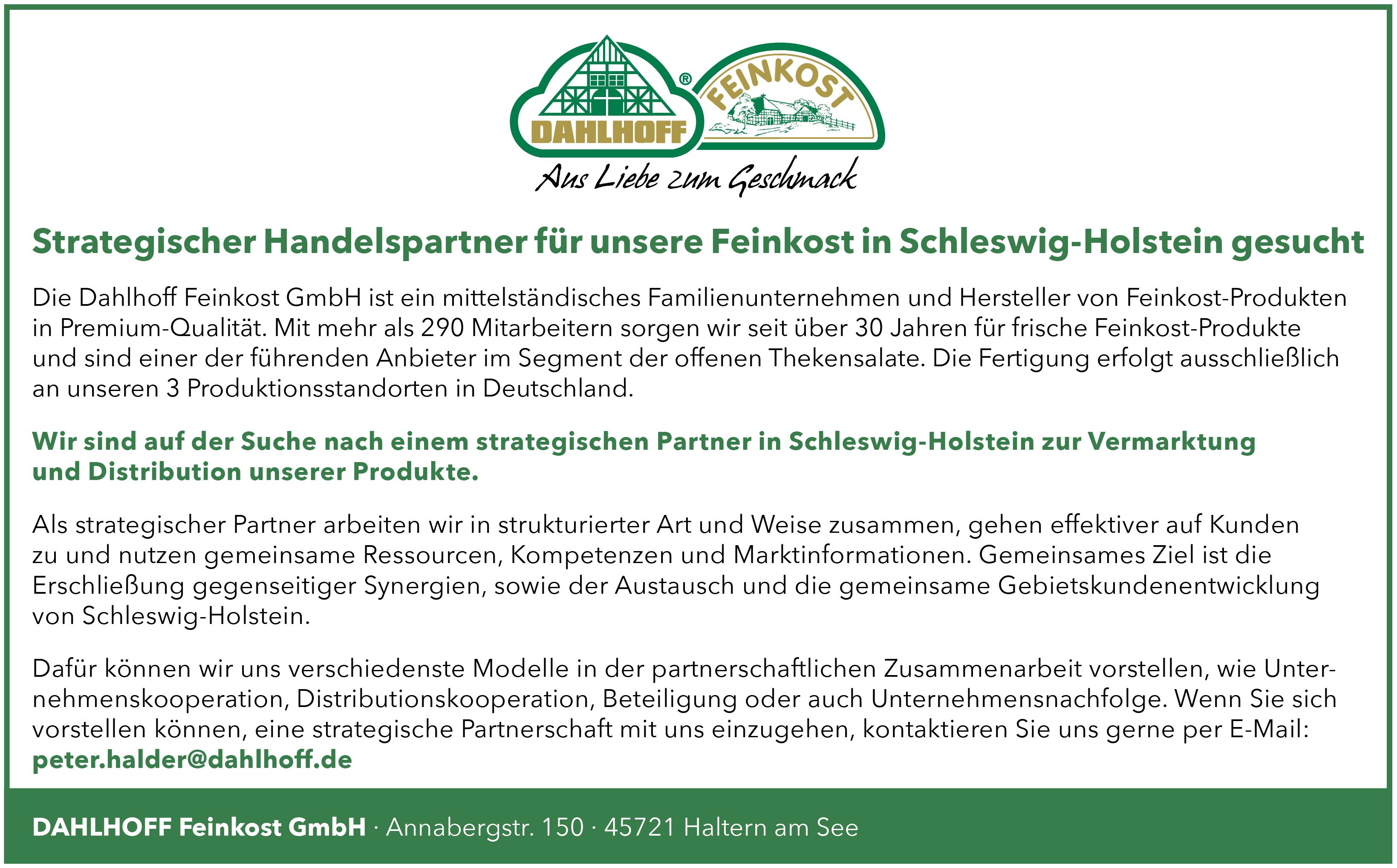 Strategischer Handelspartner für unsere Feinkost in Schleswig-Holstein